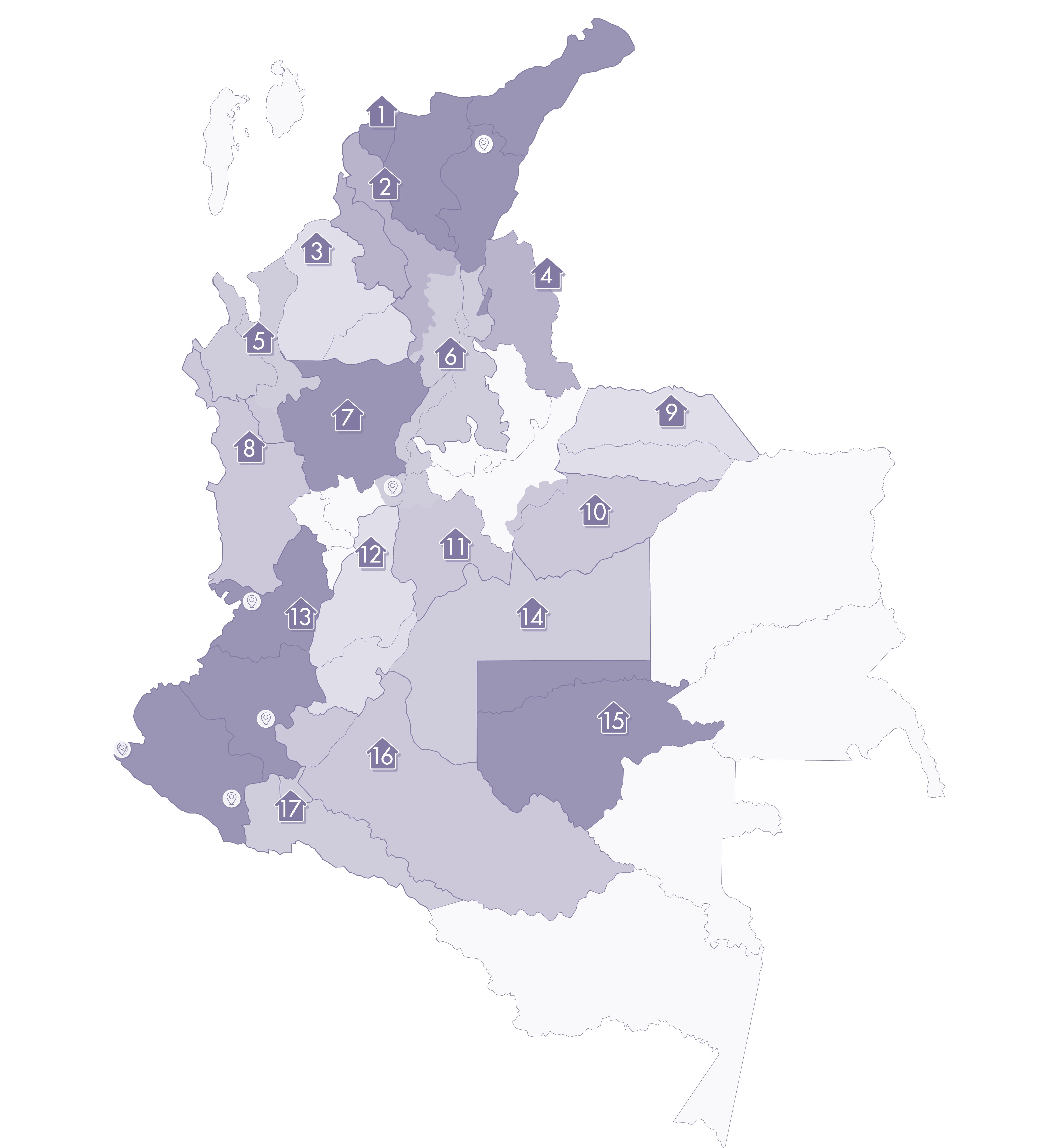 Mapa de Puntos de Atención de la UBPD